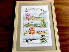 More details for beautiful large hand embroidered mounted framed picture / sampler four seasons