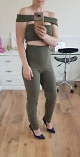 Misguided Sexy Khaki Cut Out Bardot Jumpsuit Size 8 BNWT