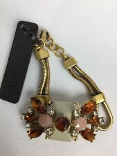 J.CREW ✨ Statement Bracelet Faceted Amber & Clear Rhinestones Gold NWT✨ FAB Look