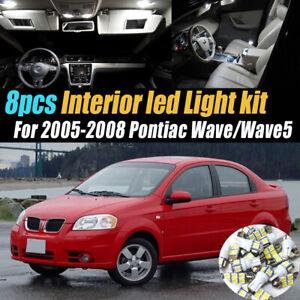 8Pc Super White Car Interior LED Light Bulb Kit for 2005-2008 Pontiac Wave/Wave5