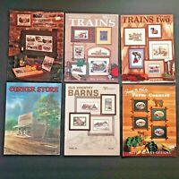 Lot 6 Cross Stitch Pattern Books Vintage Puckerbrush Trains Vineyards Country