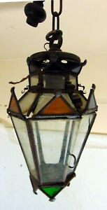 Mission Arts and Crafts Metal Stained Glass Pendant Lamp Light Hall Foyer