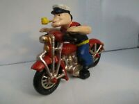 Vintage Cast Iron Popeye On A Motorcycle