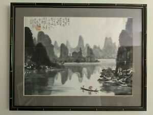 Original Early Asian Art Landscape Watercolor Painting ChopMark Seal Calligraphy