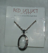 "Silver Tone 20 "" Necklace With Genuine 12 X 20mm White Agate Bead by Red Velvet"