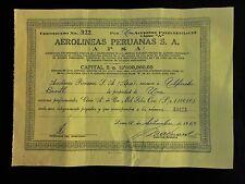 PERU Aerolineas Peruanas aviation preference share Lima 1964 printer GIL 1000S/o