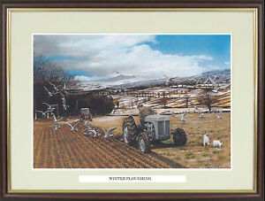 """Old Farm Tractor picture """"Winter Ploughing"""" by Ray Hutchins  - NGN106"""