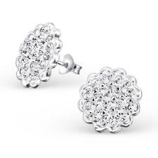 Sterling Silver Round Ear Studs - Crystal Clear - Gift Boxed