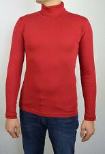Herren Rollkragenpullover Longsleeve Pullover Sweatshirt Pulli Größe S Rot
