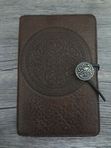 OBERON CELTIC ROSETTE SHIELD BROWN EMBOSSED LEATHER JOURNAL NOTEBOOK DIARY COVER
