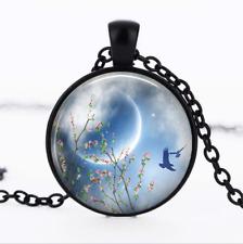 Spring Equinox Black Glass Cabochon Necklace chain Pendant Wholesale