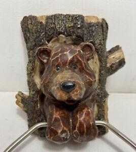 cute carved wood look Bear Towel Holder Ring Cabin Rustic Bathroom tree trunk