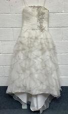 Ronald Joyce Tulle Ball Gown Wedding Dress Size UK14 Ruffles Embroidery VGC