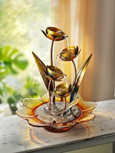 Brunnen Blütenkelche Zimmerbrunnen aus Metall und Glas 41 cm Kupfer Gold Antik