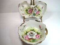 Vintage Norcrest Japan Set Of 2 Porcelain Floral Candy Nat Dishes