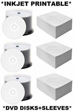 300 x DVD-R DISKS+PAPER SLEEVES/COVERS WHITE INKJET PRINTABLE SPINDLE 4.7G DVDR