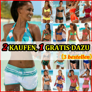 Damen Tankini Bikini Set Bademode Badeanzug Boyshorts Mode Sommer Strandkleidung