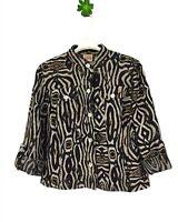 Ruby Rd Women's Top Jacket Sheer Light Weight Safari Tiger Print Size 8 Black