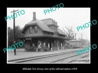 OLD LARGE HISTORIC PHOTO OF HILLSDALE NEW JERSEY, ERIE RAILROAD STATION c1910