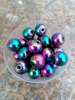 10 mm Loose Round Rainbow Plated Hematite Beads - Pack Of 10