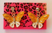Betsey Johnson Crystal Rhinestone Enamel Butterfly Stud Earrings