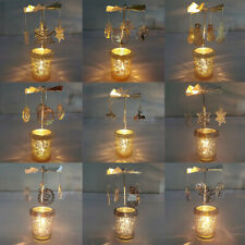 Hot Spinning Rotary Aluminum Carousel Tea Light Candle Holder Stand Light Gift