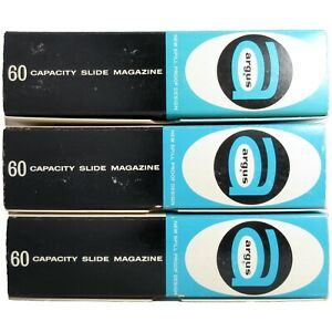 Lot 3 Argus 60 Slide Magazine 587 Spill-Proof Design Self-Aligning Blue Vintage