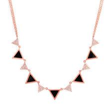 Natural Womens 14K Rose Gold Alternating Triangle Black Onyx Diamond Necklace