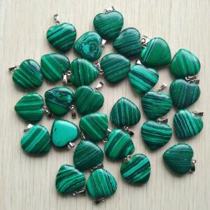 Malachite Heart Stone Pendant Chakra Reiki Yoga Rope Necklace UK Seller