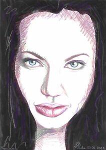 original painting A4 298PV art samovar Mixed Media portrait Angelina Jolie
