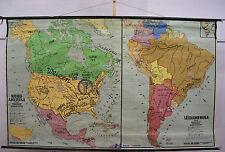 Schulwandkarte Karte Rollkarte Amerika Nordamerika Südamerika Titanic 242x147cm