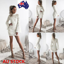 Women Crochet Lace Flared Sleeve Slim Bodycon Evening Party Cocktail Mini Dress