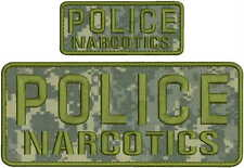 POLICE NARCOTICS embroidery patches 4x10 And 2x5 hook on backCAMO  OD LETTERS