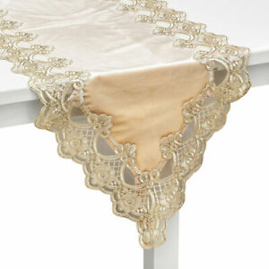 Shop LC Khaki Elegant 100% Polyester Velvety Table Runner with Gold Lace Border
