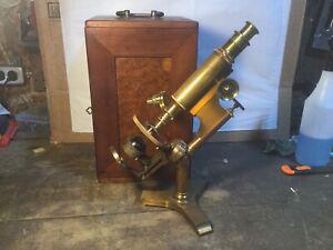 Antique Brass Bausch & Lomb Microscope 1876 & 1885 Patent Dates.