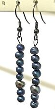 """2"""" Long Genuine Peacock Blue Pearls Gunmetal Black Hook Line Journey Earrings"""