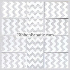 "3 yds 7/8"" Grey Gray with White Chevron Grosgrain Ribbon"
