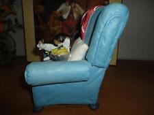 B&W & Orange Cat on Blue Armchair Figurine Handpainted Imported LDT Montreal