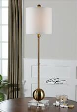 "NEW 35"" BRASS PLATED METAL TABLE LAMP CRYSTAL BASE WHITE SHADE MODERN LIGHT"