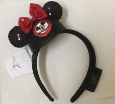 Disney Parks Mickey Mouse Clubhouse Minnie Sequined Bow Ears Headband Black