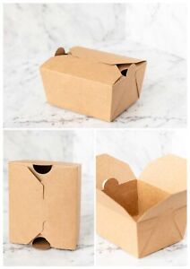 10x Kraft Cardboard Paper Container Brown Hot Food Takeaway Box Chips - 3 Sizes
