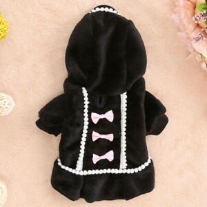Pet Clothes Winter Warm Dress Small Dog Puppy Cat Coat Jacket Sweet Bow Costume
