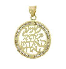 14K Yellow Gold Shema Israel Jewish Protection Prayer Religious CZ Pendant Charm