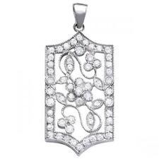 NEW 14k WHITE GOLD DIAMOND FLOWER PENDANT NECKLACE CHARM