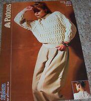 Original Patons Knitting Pattern Lady's Aran Raglan Sweater with Back Opening