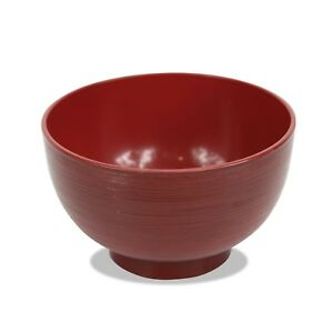 Japanese Lacquer Rice Bowl, Red Bamboo Design, 11.2cm. Made in Japan