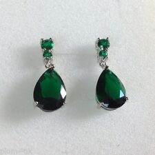 p 21 Large Green Emerald Pear Drop Silver Earrings (White Gold GF) Plum UK BOXD