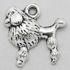 10 Tibetan Silver Dog Charm French Poodle Charm Pendant