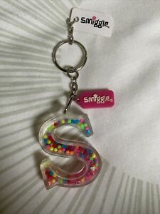 Brand New Smiggle 'S' Keyring, Rainbow Colours, With Tags, glitter, water beads