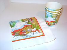 Vintage 1980's Hallmark Christmas Mouse Holiday Party 6 Napkins & 4 Cup Xmas Lot